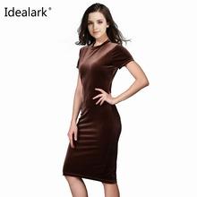 Buy Idealark Women Brown Velvet Sheath Dresses Summer Ladies Round Neck Short Sleeve Knee Length Elegant Pencil Dress WC0593 for $8.50 in AliExpress store