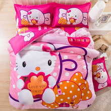 2016new hello kitty bedding set twin full queen size bed clothing comforter set bed set quilt cover linens duvet set kids