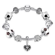High quality  Hot fashion retro silver heart charm bracelets female white glass beads crystal beaded bracelet jewelry(China (Mainland))