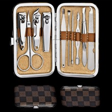 10 in 1 set Nail Tools/ Manicure Set Nail Clippers Cuticle Grooming Kit Case Makeup Accessories Mini Manicure Kit free shipping(China (Mainland))
