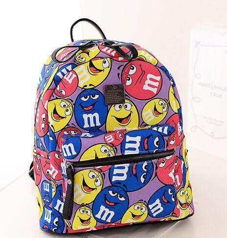 Мультфильм печать высококачественной пу рюкзак, Модели с подиума сладкие игривый сумка, Мода мини-ранец опрятный