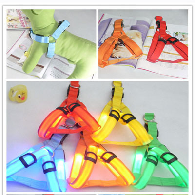 Safety Dog Pet Belt Harness LED Flashing Light 3 Mode Leash Tether(Hong Kong)