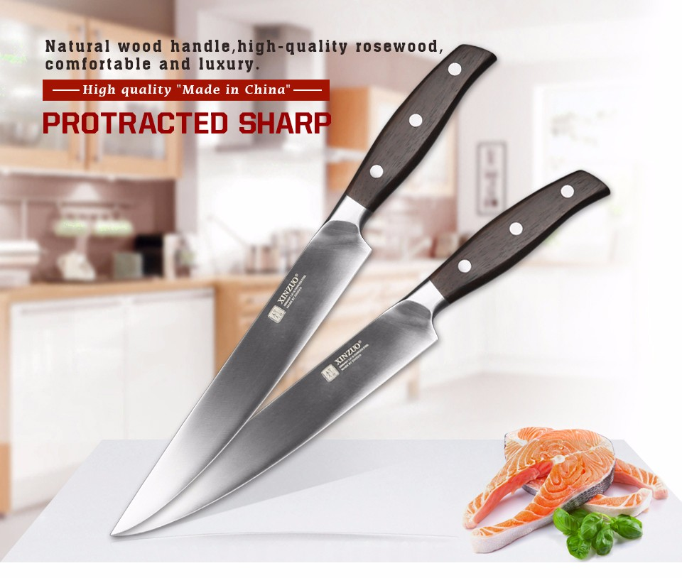 Buy XINZUO 8 inch sashimi knife German steel kitchen knife cleaver knife sushi knife rosewood handle kitchen tool free shiping cheap