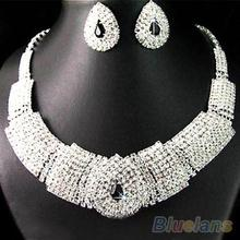 Wedding Party Bridal Black Diamante Crystal Necklace Earrings Set Jewelry Prom  021Y(China (Mainland))