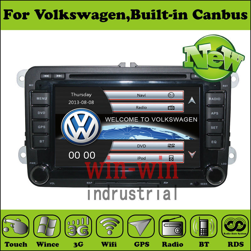 2 Din 7 Inch Car DVD Player For VW Passat JATTA POLOGOLF Skoda Seat With Canbus 3G USB Host GPS 1080P BT IPOD TV Radio WIFI Map(China (Mainland))