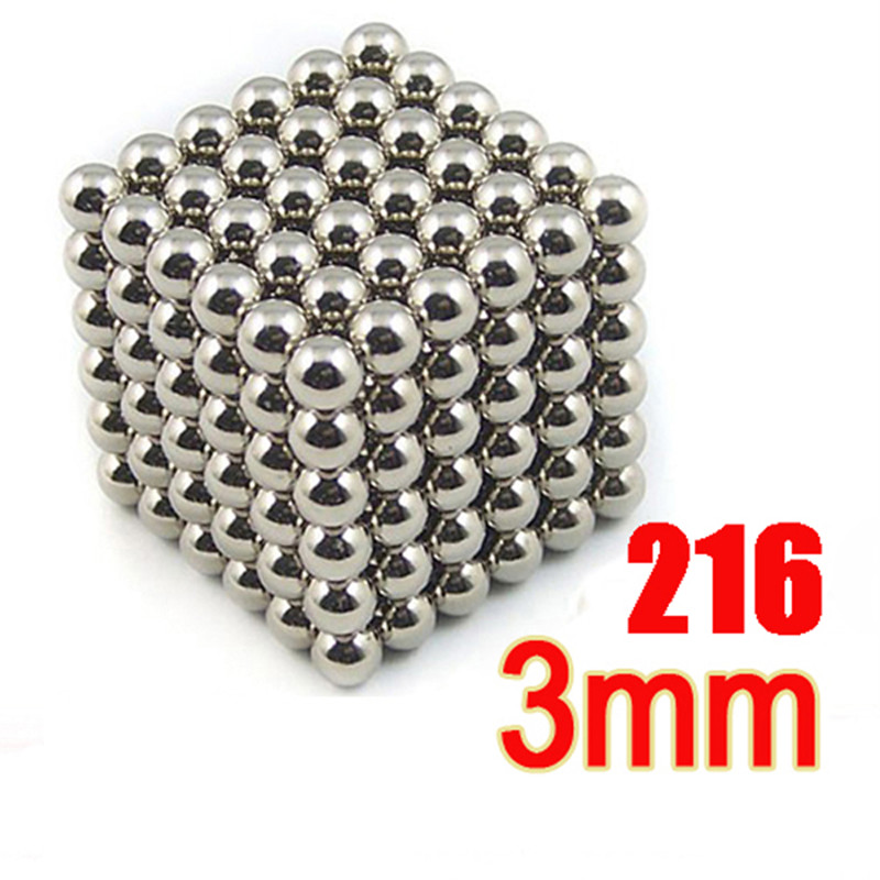 Free shipping 3mm 216 pcs Silver&Gloden Neo Cube Magic Cube Puzzle Magnetic Balls with metal box(China (Mainland))