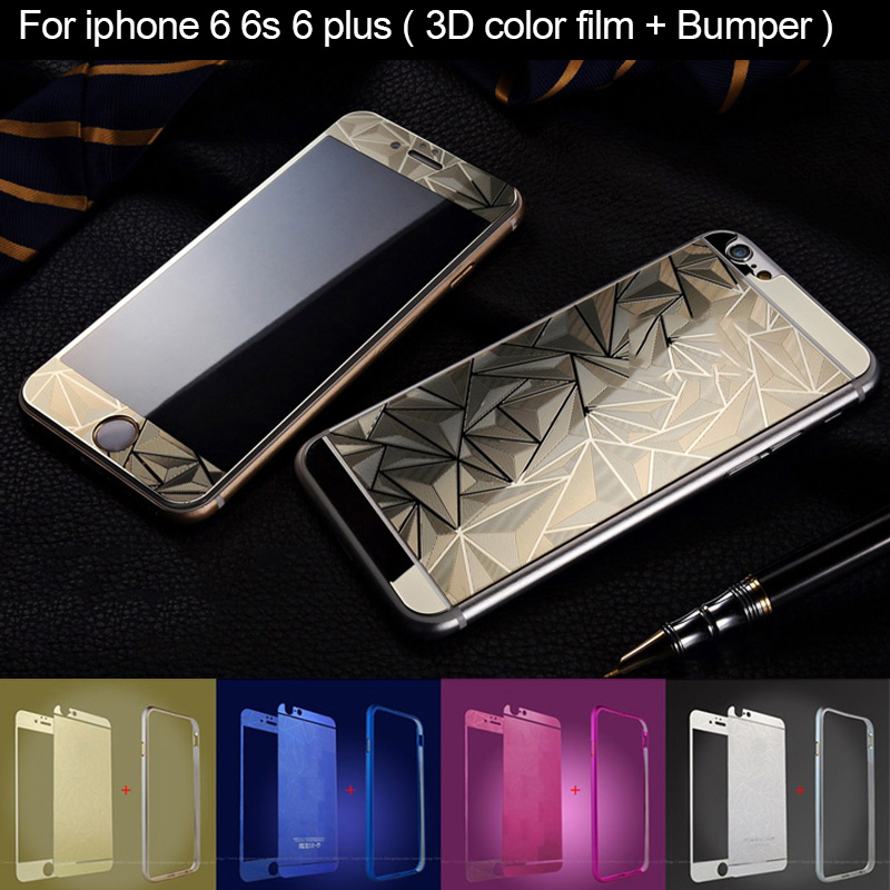 For iphone 6 Mirror Case Bumper Aluminium Tempered Glass Protector for iphone 6 6 plus Screen Protector Color 3D feeling Film(China (Mainland))