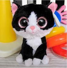 "Free shipping - Ty Pepper the Black and White Cat Beanie Boos Stuffed Plush Toy 5"",big eyes soft animal toy,fabric doll gift(China (Mainland))"