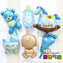Hot  Sale 6pcs/lot  Angel Baby Shower Foil Balloons Baby Boy Girl Birthday Party Decorations mini bear+baby+foot+bottle Balloon(China (Mainland))
