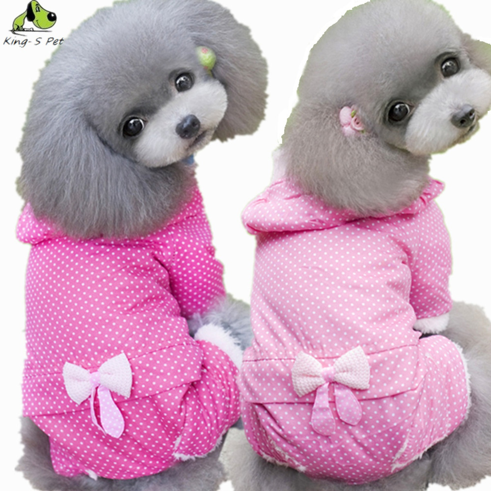 Pet Dog Bowknot Winter Warm Coat Clothes Super Quality Pink Rose Red Colour Size XS-XXL Autumn Jacket Clothing For Dogs(China (Mainland))