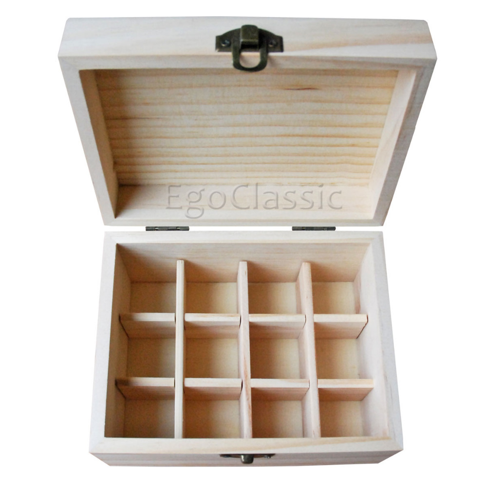 Factory Wholesale 6 pieces/set Natural pine wooden boxes Essential Oils Storage Box 12 holes 5ml - 20ml bottles without paint(China (Mainland))