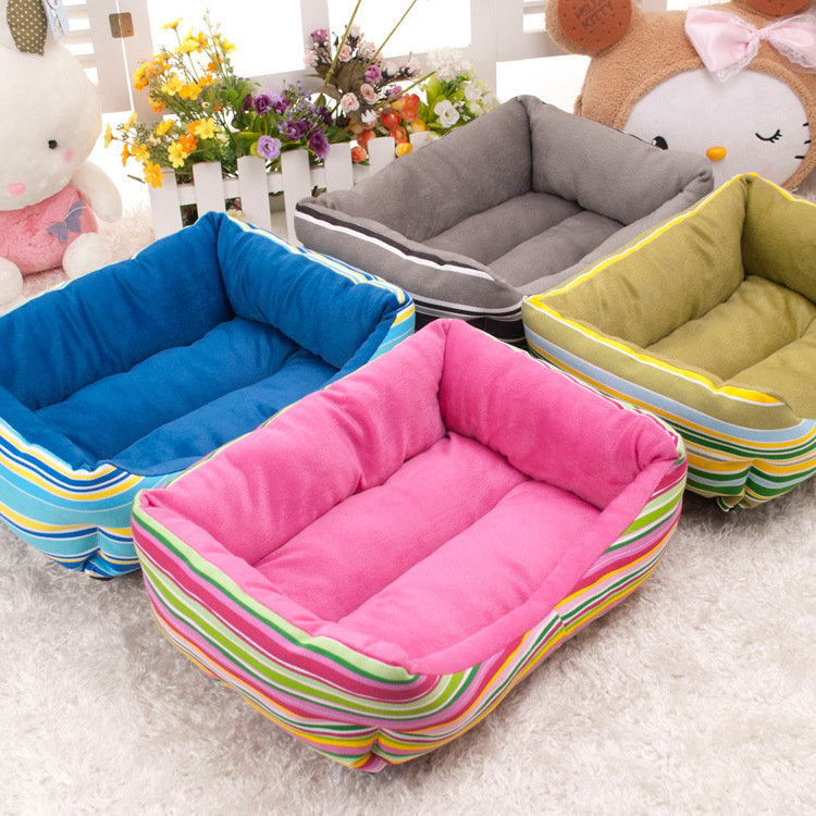 Dog Beds Cheap Pets Waterproof Plush House Mat Nest for Dogs Cats Animals Rainbow Stripe 3 Sizes camas para perros grandes xl(China (Mainland))