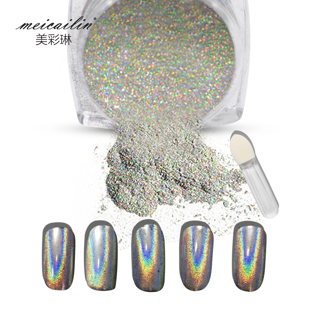 1g/Box Shiny Laser Nail Powder Holographic Nail Glitter Dust Rainbow Chrome Pigment Manicure Pigments Nail Art Decorations(China (Mainland))