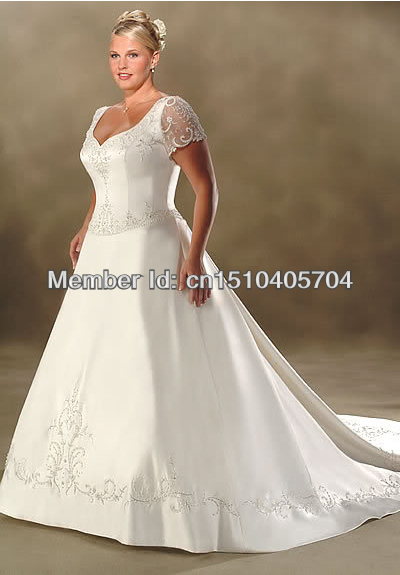 New white ivory short sleeve wedding dress bride gowns for Wedding dresses size 18 plus