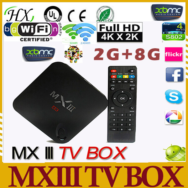 Octa-Core Mali-450 GPU Set Top Box Quad Core 4K 2G/8GB 2.4G/5G Wifi XBMC Bluetooth DLNA Miracast MXIII Android 4.4 TV Box(China (Mainland))