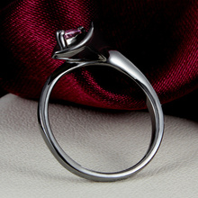 Black gold filled rings For Women Ruby Red Gem CZ Diamond Party ring fashion Black Gold