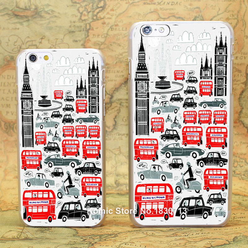 London bus cartoon illustration Pattern hard transparent clear Cover Case for iPhone 4 4s 5 5s 5c 6 6s 6 Plus(China (Mainland))