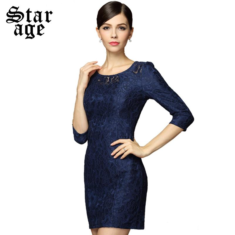 M-4XL Brand Elegant Ladies Hollow Out Embroidery Half Sleeve Slim Dresses Autumn Winter Fashion Plus Size Women Clothes 8083(China (Mainland))