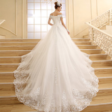 vestido de novia 2015 New Bride Princess White Lace Embroidery Beading Luxury Long Royal Train Plus Size Wedding Dresses Custom(China (Mainland))