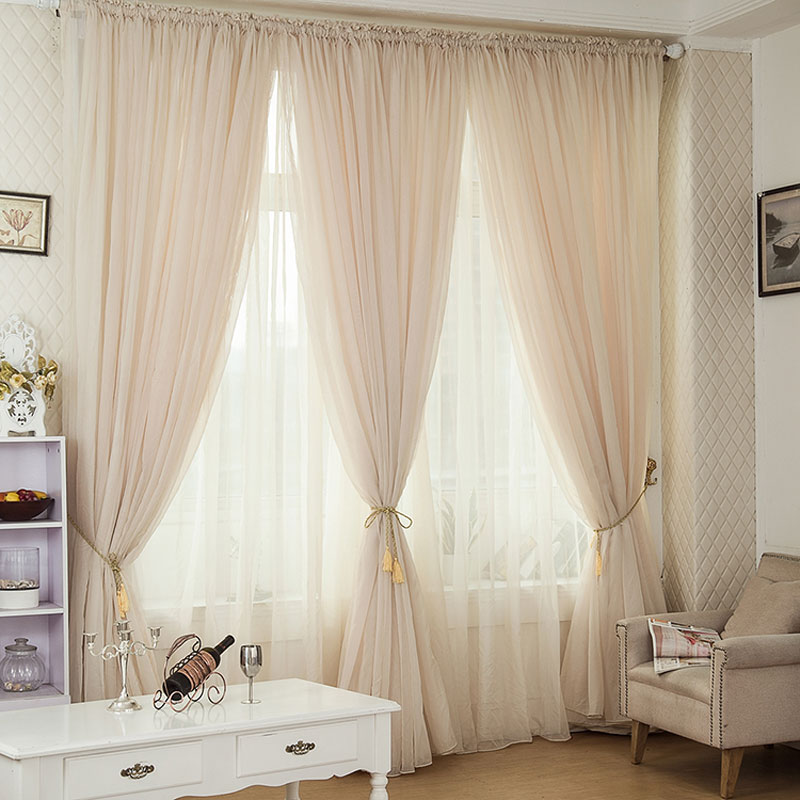 Buy 1 panel modern sheer curtains window decoration solid for B m living room curtains