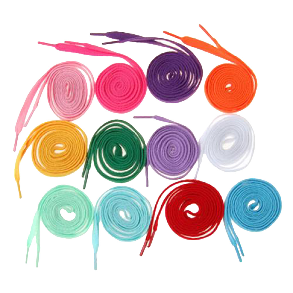 12 Pairs Nylon Rainbow Colored Shoelaces Multi-color Flat Shoe Laces Strings Cords Ropes Sport Shoes Accessories for Sneakers
