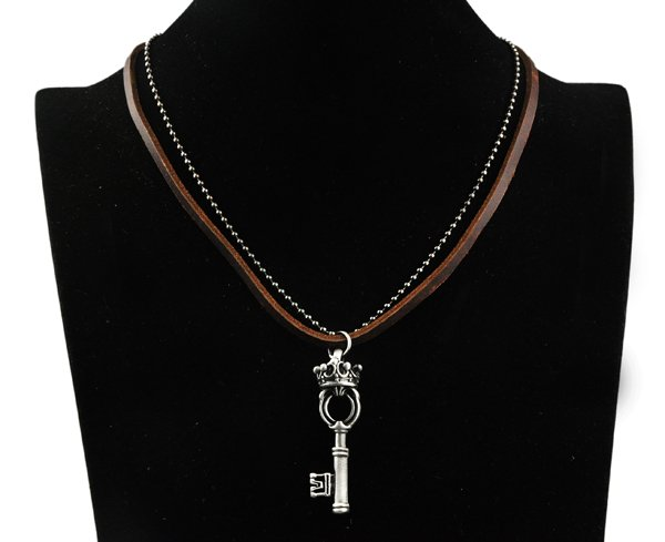Cook Rock Punk Crown Power Key Pendants Genuine Leather Double Chain Necklaces(China (Mainland))