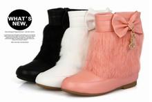 Commercio all'ingrosso 2014 nuovo inverno stivali bambini coreani ragazza arco principessa stivali davvero coniglio cotone imbottito scarpe stivali 279(China (Mainland))