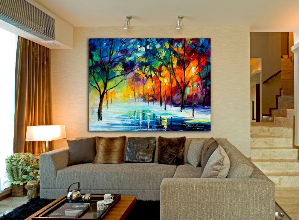 BA Oil Painting Cold Winter Night In Park Knife Canvas Painting Wall Pictures for Living Room Decoration Free Shipping