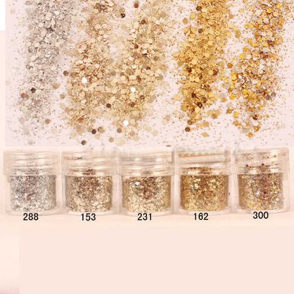1 Pack Gold Silver Nail Glitter Dust Fine Mix 3D Nail Sequins Acrylic Glitter Powder Large Nail Art Tips Decoration 10ML(China (Mainland))