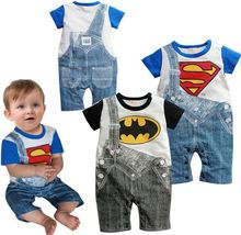 2015  Cute Summer Newborn Clothes Baby Suit Boys Superman Batman Romper Cotton 0-24M bebe jumpsuit(China (Mainland))