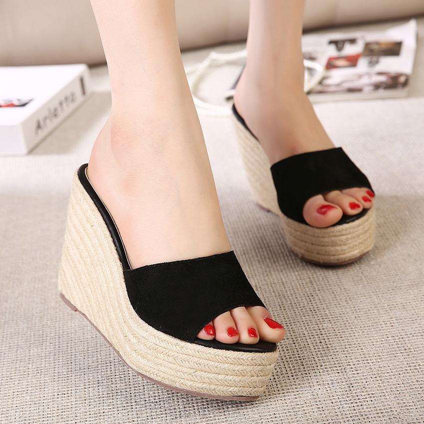 Women Straw wedges 11cm high heel shoes Sandal Female 2016 Summer open toe slippers platform Slides sy-1084 - Honey Bee store
