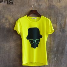 Fashion Comfortable Leisure Short Sleeve T Shirt Yellow Printing Clothes Lovely Summer T Shirts Casual(China (Mainland))