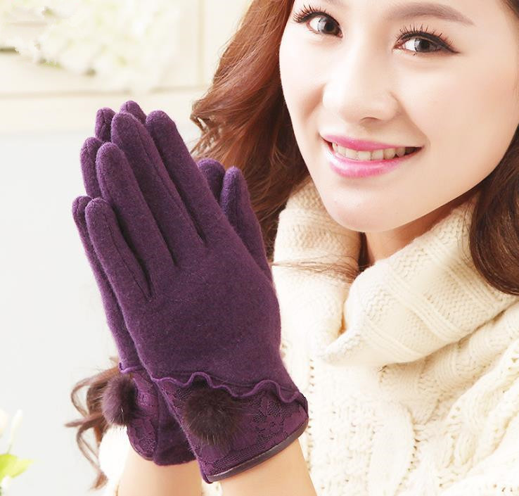 fashion glove Women's autumn and winter gloves warm mittens cute bow full-finger wool gloves with lace thin elastic slim leather(China (Mainland))