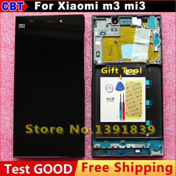 Original xiaomi m3 mi3 LCD Display +Digitizer touch Screen WCDMA for XIAO MI 3 M3 LCD Screen + frame + Tool + Free Shipping