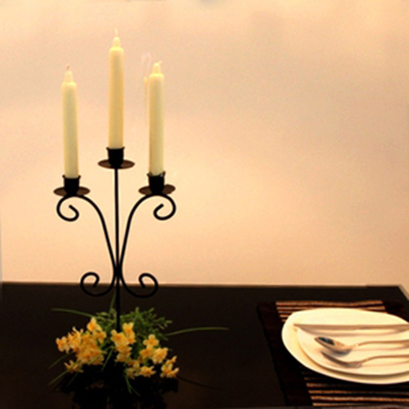 New Iron Metal Candle Holders 3-Arms Stand Black Continental High Quality Pillar For Wedding Event Candlelight Dinner Candelabra(China (Mainland))