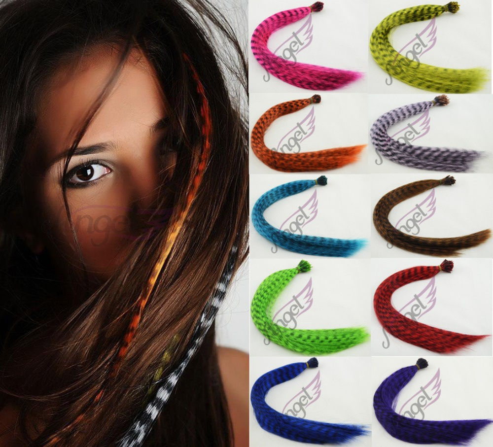 """1strand 16"""" 0.5g/ strand High temperature fiber Rainbow Multicolor Grizzly Feather hair extensions Ordinary Small Packet(China (Mainland))"""