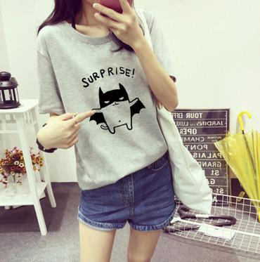 Women New Summer Style Surprise Batman 3D Print T Shirts Funny Pattern Funny Female Short Sleeve(China (Mainland))