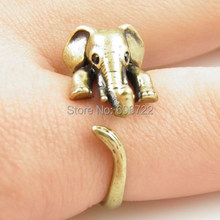 Vintage Bronze Elephant Animal Wrap Ring New Fashion Elephant Ring Anel Ring For Woman Fine Jewelry(Hong Kong)