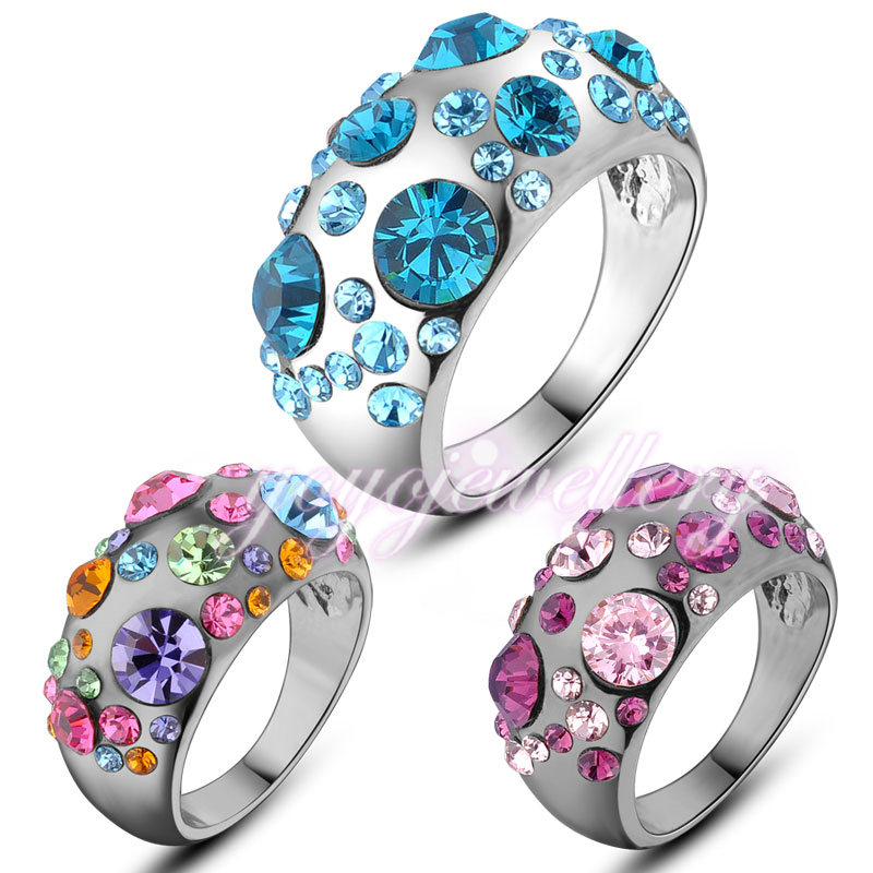 Mytys Fashion Trendy Beautiful Flower Design Romantic Crystal Rings Unique Design For Young Girls and Women R827 R828 R872(China (Mainland))