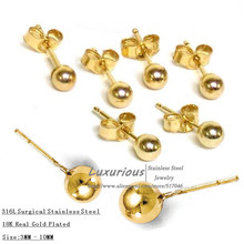 18K Real Gold Vacuum Plated,Stainless Steel Surgical yellow Ball luxury Stud Earrings sided earring lot female gift  (China (Mainland))