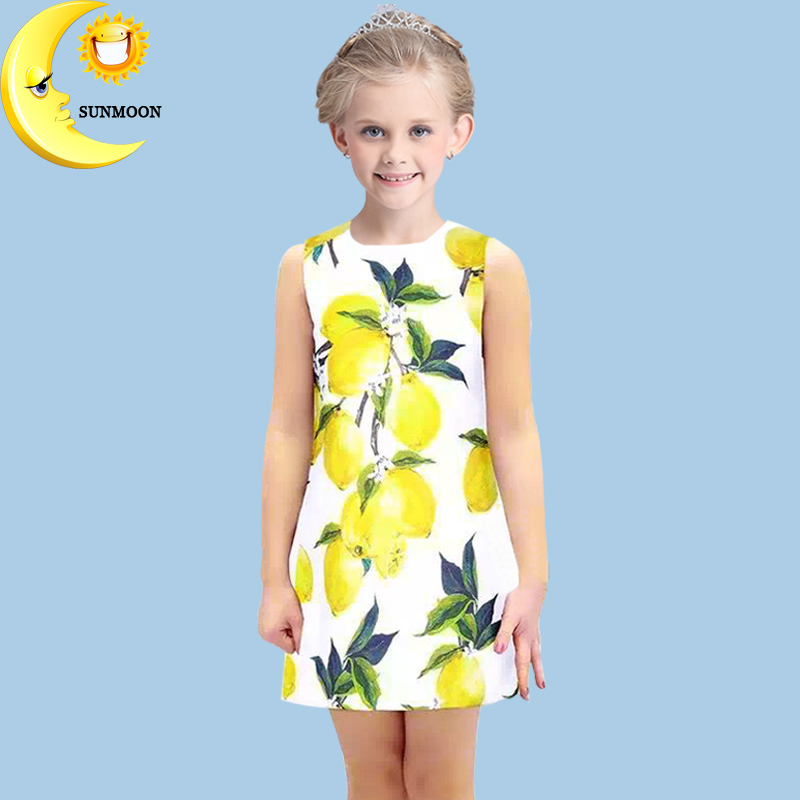 Girl clothes new summer baby girl dress lemon print kids dresses for girls children clothing casual princess dress 2-10Y vestido(China (Mainland))