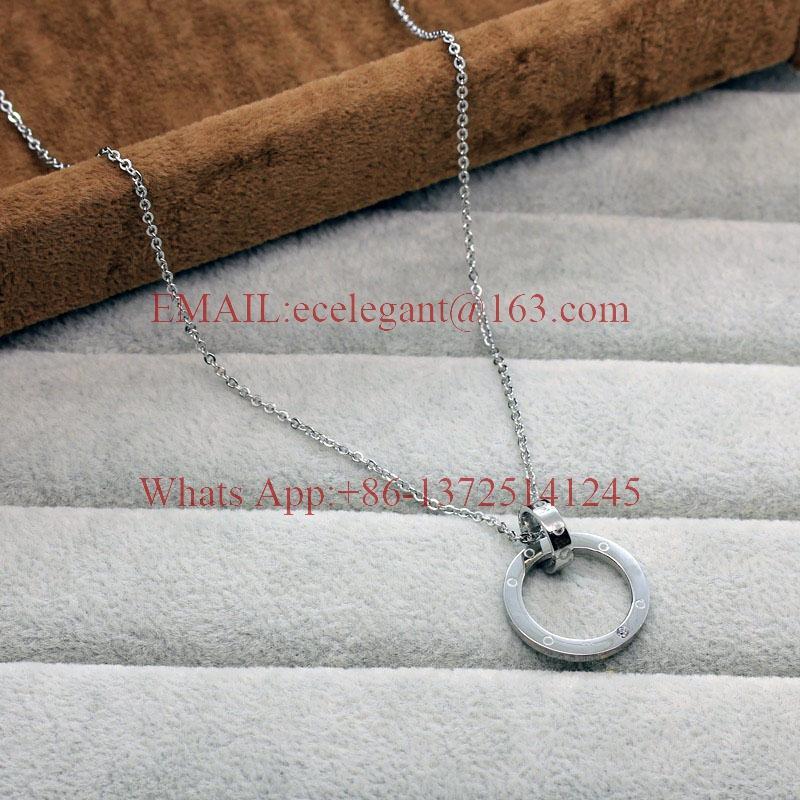 DASN016 Free Shipping fashion platinum steel necklace big round pendant stainless steel elegant women necklace jewlery