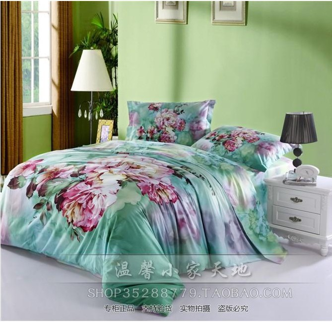 Vintage Mint Green Floral Flower Duvets Cover Bedspread