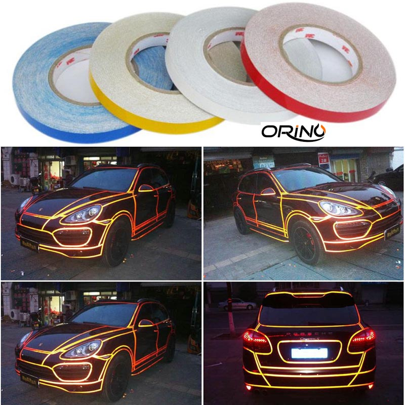 1.5cm*46m/roll 3M Refelective Sheets Yellow& Blue & White& Red For Car Wrapping reflect Film Free Shipping(China (Mainland))