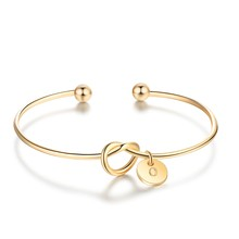 A TO Z Huruf Opsional Bangle 3 Warna Gelang & Gelang untuk Wanita Bridesmaid Perhiasan Adik Hadiah (Jewelora BA102101)(China)