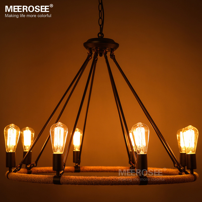 American style Rope chandelier Vintage Antique suspension lamp E27 Edision bulb chandelier lustre Living room,Restaurant hanging<br><br>Aliexpress