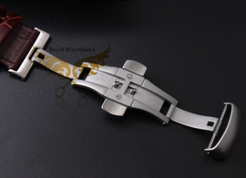 22 мм 23 мм 24 мм черный крокодил картина натуральная кожа часы ремешок серебряный матовый бабочка застежка для T035.617 627 051 407