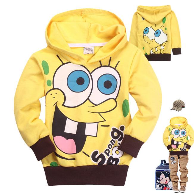 Гаджет  Retail Spongebob 2014 New Baby Boys cartoon T shirts cotton long sleeve hoodie kids fashion sweater tops children autumn wear None Детские товары