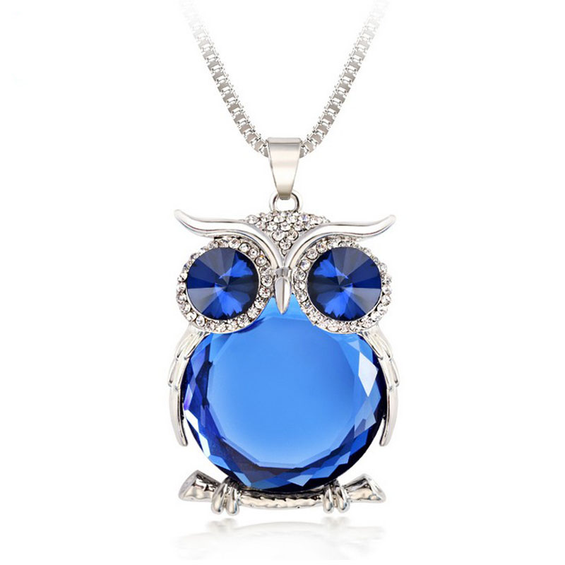 2015 High Quality Vintage Necklaces Zinc Alloy Crystal Jewelry Owl Necklace Pendant Long Popcorn Chain Necklace For Women(China (Mainland))