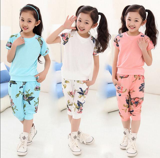 Девушки малыш цветочные с коротким рукавом летом футболка топ блузка брюки экипировка комплект 5-10Y